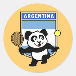 Round Sticker with Argentina Tennis Panda design