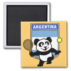 Square Magnet with Argentina Tennis Panda design