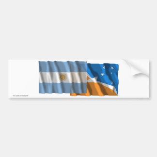 Argentina & Tierra del Fuego waving flags Car Bumper Sticker