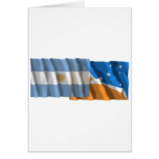 Argentina & Tierra del Fuego waving flags Card