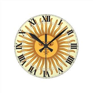 Argentina Uruguay Symbol Sun Rays Face Clock