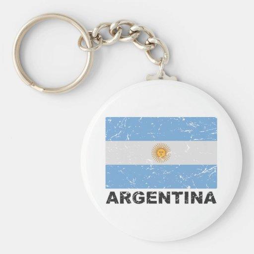 Argentina Vintage Flag Basic Round Button Keychain