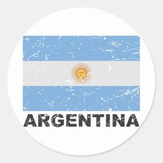 Argentina Vintage Flag Classic Round Sticker