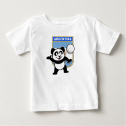 Baby Fine Jersey T-Shirt with Argentina Volleyball Panda design
