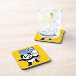 Beverage Coaster with Argentina Volleyball Panda design