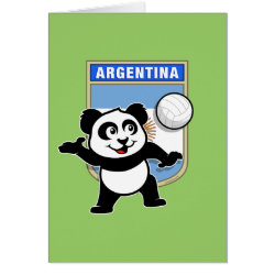 Note Card with Argentina Volleyball Panda design