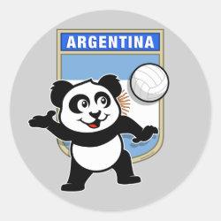 Round Sticker with Argentina Volleyball Panda design