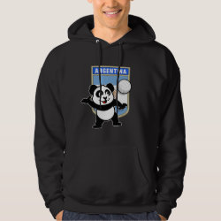 Men's Basic Hooded Sweatshirt with Argentina Volleyball Panda design