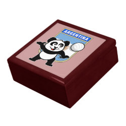 Large 7.125' Square w/6' Tile Gift Box with Argentina Volleyball Panda design