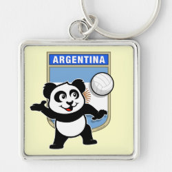 Premium Square Keychain with Argentina Volleyball Panda design