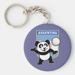Basic Button Keychain with Argentina Volleyball Panda design