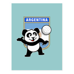 Postcard with Argentina Volleyball Panda design