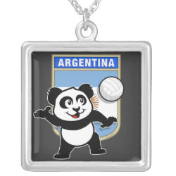 Large Necklace with Argentina Volleyball Panda design