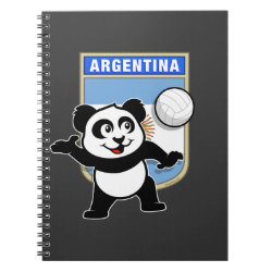 Photo Notebook (6.5' x 8.75', 80 Pages B&W) with Argentina Volleyball Panda design