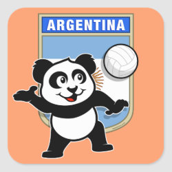 Square Sticker with Argentina Volleyball Panda design