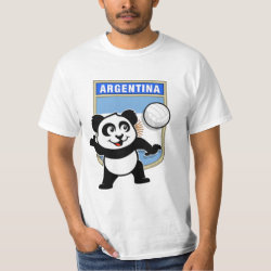 Men's Crew Value T-Shirt with Argentina Volleyball Panda design