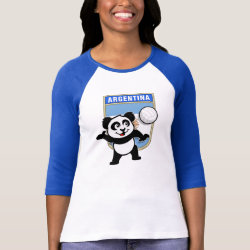 Argentina Volleyball Panda Ladies Raglan Fitted T-Shirt