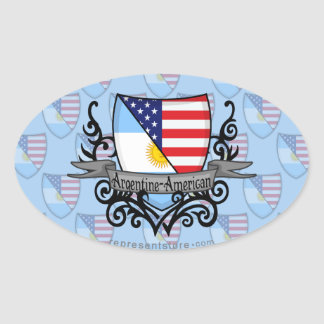 Argentine-American Shield Flag Oval Sticker