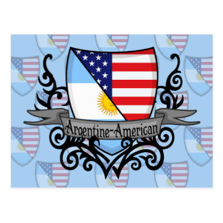 Argentine-American Shield Flag Postcard