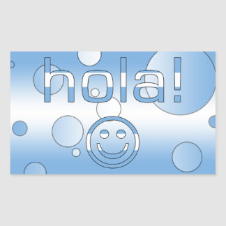 Argentine Gifts : Hello / Hola + Smiley Face Rectangular Sticker