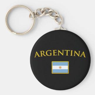 Argentine Gold Basic Round Button Keychain
