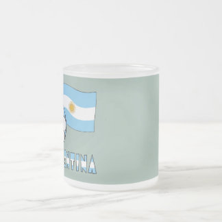 Argentine Soccer Ball and Flag Frosted Glass Coffee Mug