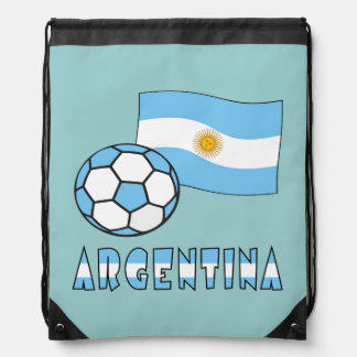 Argentine Soccer Ball and Flag Cinch Bags
