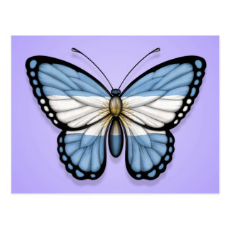 Argentinian Butterfly Flag on Purple Postcard