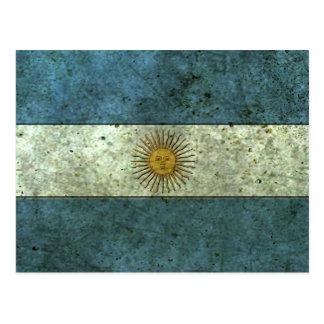 Argentinian Flag Aged Steel Effect Postcard