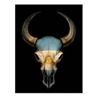 Argentinian Flag Bull Skull on Black Postcard
