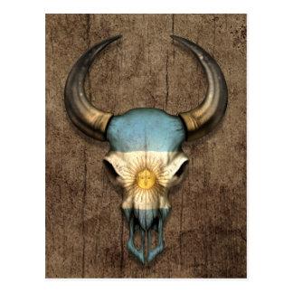 Argentinian Flag Bull Skull on Wood Effect Postcard
