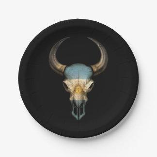 Argentinian Flag Bull Skull Paper Plate