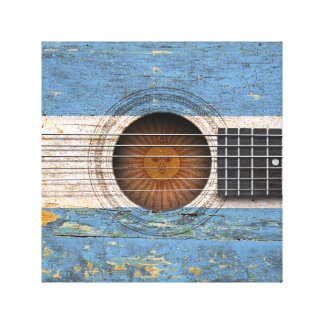 Argentinian Flag on Old Acoustic Guitar Gallery Wrap Canvas