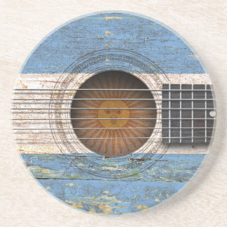 Argentinian Flag on Old Acoustic Guitar Coaster