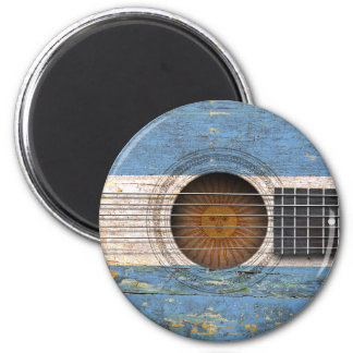 Argentinian Flag on Old Acoustic Guitar Refrigerator Magnets
