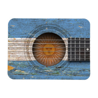 Argentinian Flag on Old Acoustic Guitar Vinyl Magnets