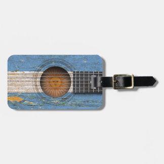 Argentinian Flag on Old Acoustic Guitar Tag For Bags