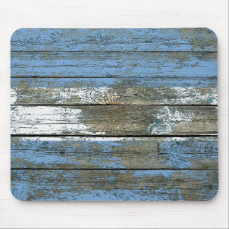 Argentinian Flag on Rough Wood Boards Effect Mouse Pad