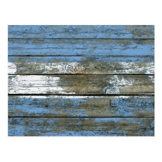 Argentinian Flag on Rough Wood Boards Effect Postcard