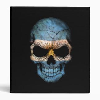 Argentinian Flag Skull on Black 3 Ring Binder