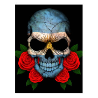Argentinian Flag Skull with Red Roses Postcard