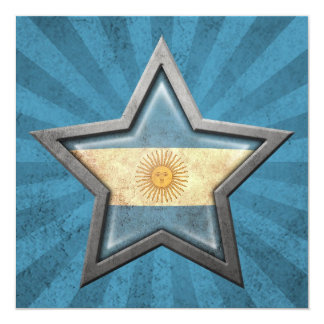 Argentinian Flag Star with Rays of Light Card