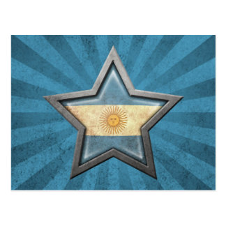Argentinian Flag Star with Rays of Light Postcard