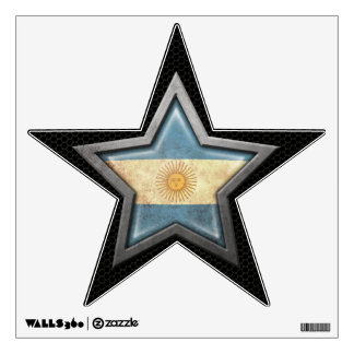 Argentinian Flag Star with Steel Mesh Effect Wall Decal
