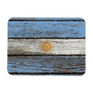 Argentinian Flag with Rough Wood Grain Effect Rectangular Photo Magnet