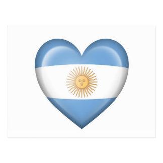 Argentinian Heart Flag on White Postcard