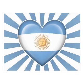 Argentinian Heart Flag with Star Burst Post Card