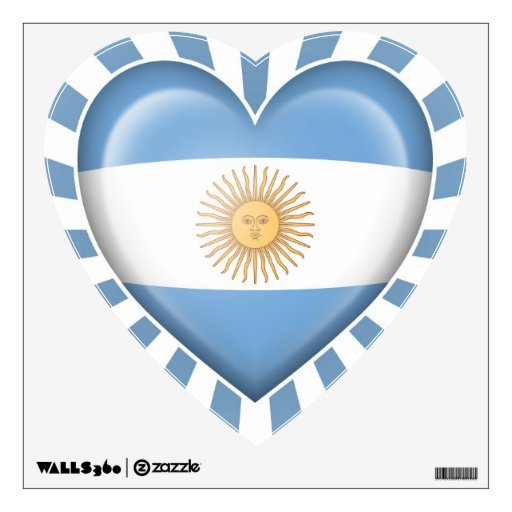 Argentinian Heart Flag with Star Burst Wall Decal