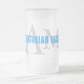 Argentinian Mastiff Breed Monogram Design Frosted Glass Beer Mug