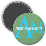 Argentinian Mastiff Breed Monogram Design Magnet